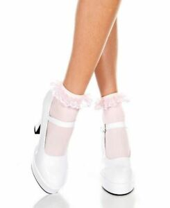 One Pair of New Music Legs 527 Opaque Ankle High Socks With Ruffled Lace