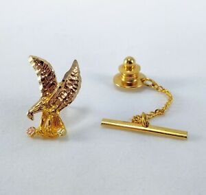 10k Solid Yellow & Rose Two Tone Gold - Bird Eagle Holding Branch w/ Leaves Pin