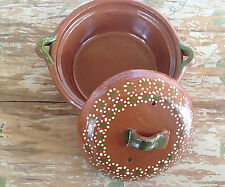 Authentic Mexican Cazuela de Barro Hand Made / Painted old Traditional Cooking