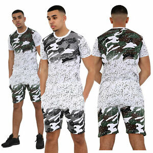 Men Camouflage Splatter Designer Print Shorts Shirts Top & Bottom Shorts Set