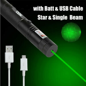 990 Miles Strong Beam Green Laser Pointer Pen 532nm Lazer Torch USB Rechargeable