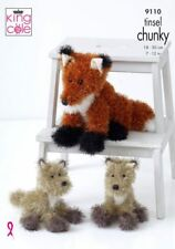 FOX & CUB TOY KNITTING PATTERN 2 SIZES USING TINSEL CHUNKY YARN KING COLE 9110