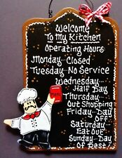 Fat Chef Kitchen Operating Hrs Kitchen Sign Wall Art Hanger Plaque Bistro Cucina