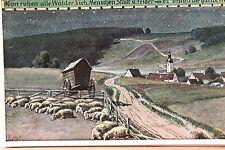 16633 AK Paul Hey Nr.45 Volksliedkarten Nun ruhen Weide Schafe Dorf Nacht um1920