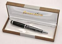 Prayer For Traveler Black & Silver Blessing Pen From Jerusalem in Hebrew