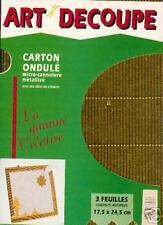"LOT de 3 Feuilles ""ART DECOUPE"" CARTON ONDULÉ METALLISÉ"