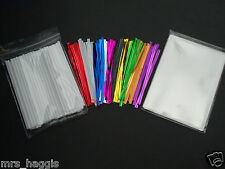 "50 x 4.5"" WHITE CAKE POP KIT LOLLIPOP KIT INCLUDES PLASTIC STICKS BAGS TIES"