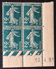Timbre France, n°239, 2f vert, xx coin daté, TB, cote 202e.