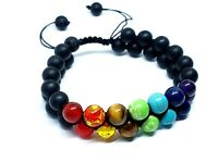 7 Chakra Beaded Bracelet & Black Tourmaline 8mm Beads Yoga Prayer Stones UK