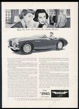 1955 Austin-Healey 100 car photo two women art vintage print ad