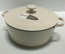 Cuisinart CI670-30CW 7 Qt. Round Cast Iron Casserole Cookware Dish Cream