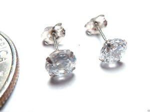 14kt White Gold 6MM Cubic Zirconia Stud Earrings 100% Guaranteed! Free Shipping!