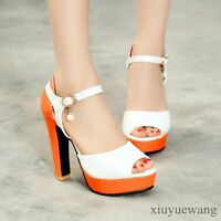New Womens Open Toe Ankle Strap High Heel Platform Sandals Party Shoes Plus Size