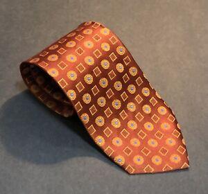 HUGO BOSS Men's Luxury Burnt Orange With Blue & Yellow Accents Silk Tie EUC