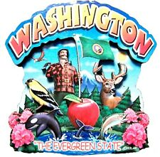 Washington the Evergreen State Artwood Montage Fridge Magnet