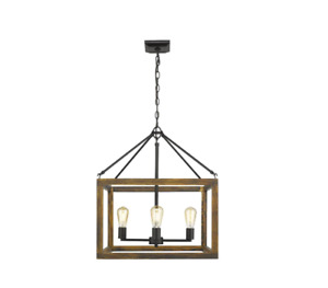 Golden Lighting Sutton 4-Light Pendant in Black with Wood Cage