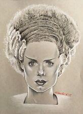 Bride of Frankenstein Original Pencil Drawing . Fan-ART A4