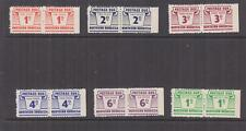 NORTHERN RHODESIA, Postage Due, 1963 set of 6, pairs, imperf. right.margin, mnh.