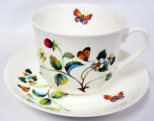 Strawberries & Butterflie Bone China Large Breakfast Cup Saucer Set Decorated UK