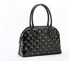 Rock Rebel GG Rose Mina Quilted Handbag with Bats Black Glitter Goth Purse Bag