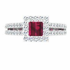 14KT White Gold Certified 3.90Ct Red Princess Cut Diamond Lovely Engagement Ring