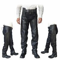 4Fit™ Unisex Genuine Leather Motorcycle Chaps for Bikers- Black S to 6XL