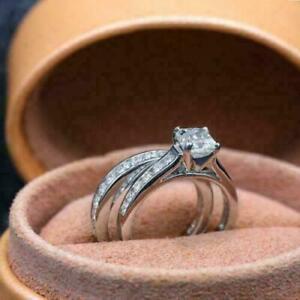 Channel Set Engagement & Wedding Bridal Ring Set 14K White Gold 1.86 Ct Diamond