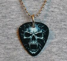 Metal Guitar Pick Necklace SKULL evil dark horror death wicked pendant charm