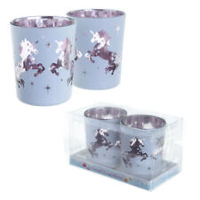 Set of 2 Beautiful Unicorn Design Pink and White Tea Light Candle Holders Gift