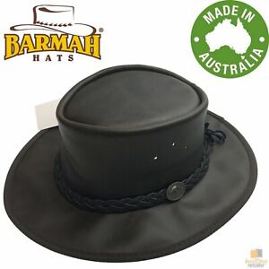 BARMAH Squashy Oiled Cattle Hide Leather Hat Outback Brim Foldable BOMBER New