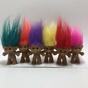 """Lot of 6 Vintage ACE Novelty TREASURE TROLLS with Wish Stone Belly Rainbow 3"""""""