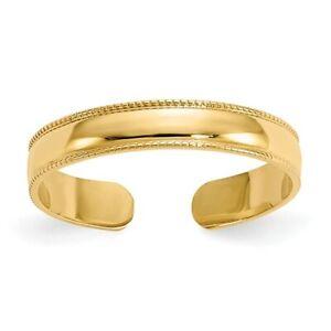 14K Solid Yellow Gold Milgrain Adjustable Toe Ring D3075