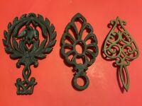 Lot of 3 Vintage Brass Metal Trivets Cast Iron Brass Wilton Japan Eagle Heart