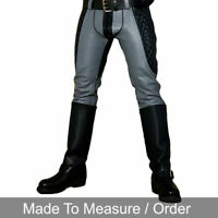 Men's Real Leather Bikers Quilted Pants With / Without Back Zip BLUF Grey Pants