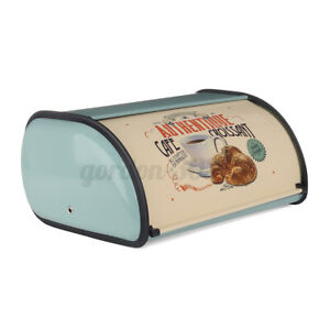 Bread Bin Metal Box Roll Top Lid Food Holder Loaf Kitchen Cake Container Storage