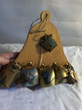 Vintage Wooden Bell Hanger Plaque with 7 Mini Swiss Cowbells with Paintings