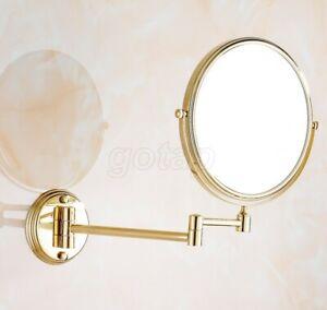 Gold Brass Folding Dual Arm Extend Bathroom Mirror Wall Mounted Makeup Mirror