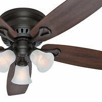 """52"""" Hunter New Bronze Low Profile Ceiling Fan - Swirled Marble Light Kit"""