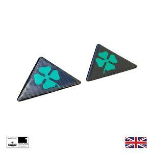2x Cloverleaf Carbon Fiber Effect Wing Badges for Alfa Romeo Giulietta Mito