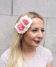 Blush Pink Cream Double Rose Flower Hair Clip Rockabilly Fascinator 1950s 2712