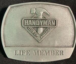 Vintage 90's 1996 Handyman Club Of America Life Member Hammer Logo Belt Buckle