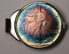 1995 American Silver Eagle Coin in money clip. Uncirculated Blue/Purple Toning