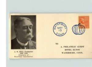 Waterbury, Connecticut, card w/ J. W. Hill, Postmaster, originator Waterbury Can