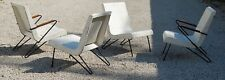 4 Wrought Iron Lloyd Loom Wicker mid century modern patio pool chairs eames