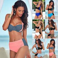2tlg Damen Bandage Bikini Set Push-up Gepolsterter Badeanzug High Waist Bademode