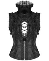 Punk Rave Pyon Gothic Sleeveless Blouse Top Vest Black Brocade Steampunk Lolita