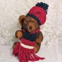 "Hugfun Brown Teddy Bear Plush Stuffed Animal Red Knit Hat Scarf Minky Soft 6"""