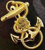 US Coast Guard Anchor Cap Hat Badge Screw Back USCG Pin Naval Insignia GOLD PLTD