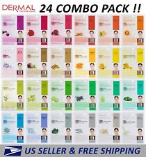 Dermal Korea Collagen Essence Full Face Facial Mask Sheet (24 Combo Pack) New