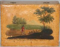 ORIGINAL Antique c1800~~ CHILD WOODEN SEWING BOX & tools~~AWL,WINDER,NEEDLECASE